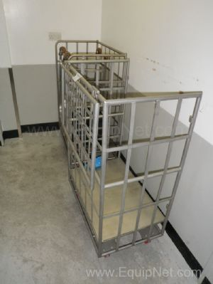 Lot of 2 off Mobile Stainless steel 3 sided Transport Cages
