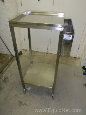 Lot of 2 off Stainless steel Mobile Support Tray Tables with side mounted File Holder pockets