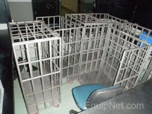 Lot of 6 off Mobile Stainless steel 3 sided Transport Cages with hinged Lids