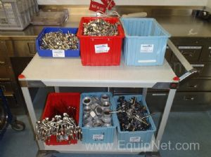 6 Bins of Stainless Steel Fittings, Clamps, Tubes, Connectors.