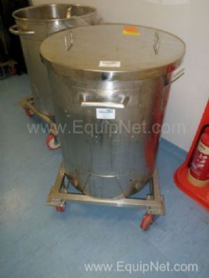 1 Lot of 11 off Stainless steel mobile 200 Litre storage transfer tanks with loose lids