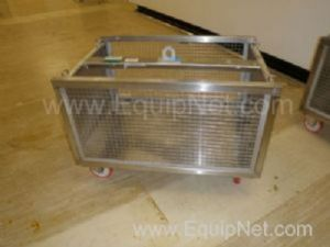 1 Lot of 8 off Stainless steel mobile 500 litre storage transport cages with removable sides