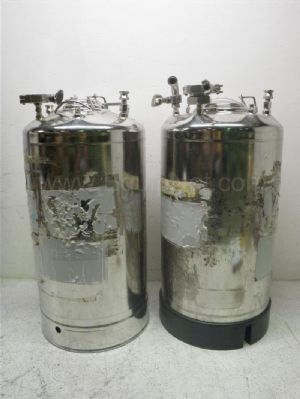Lot of 2 Alloy Products Corp 9.5 Gallon Stainless Steel Tanks