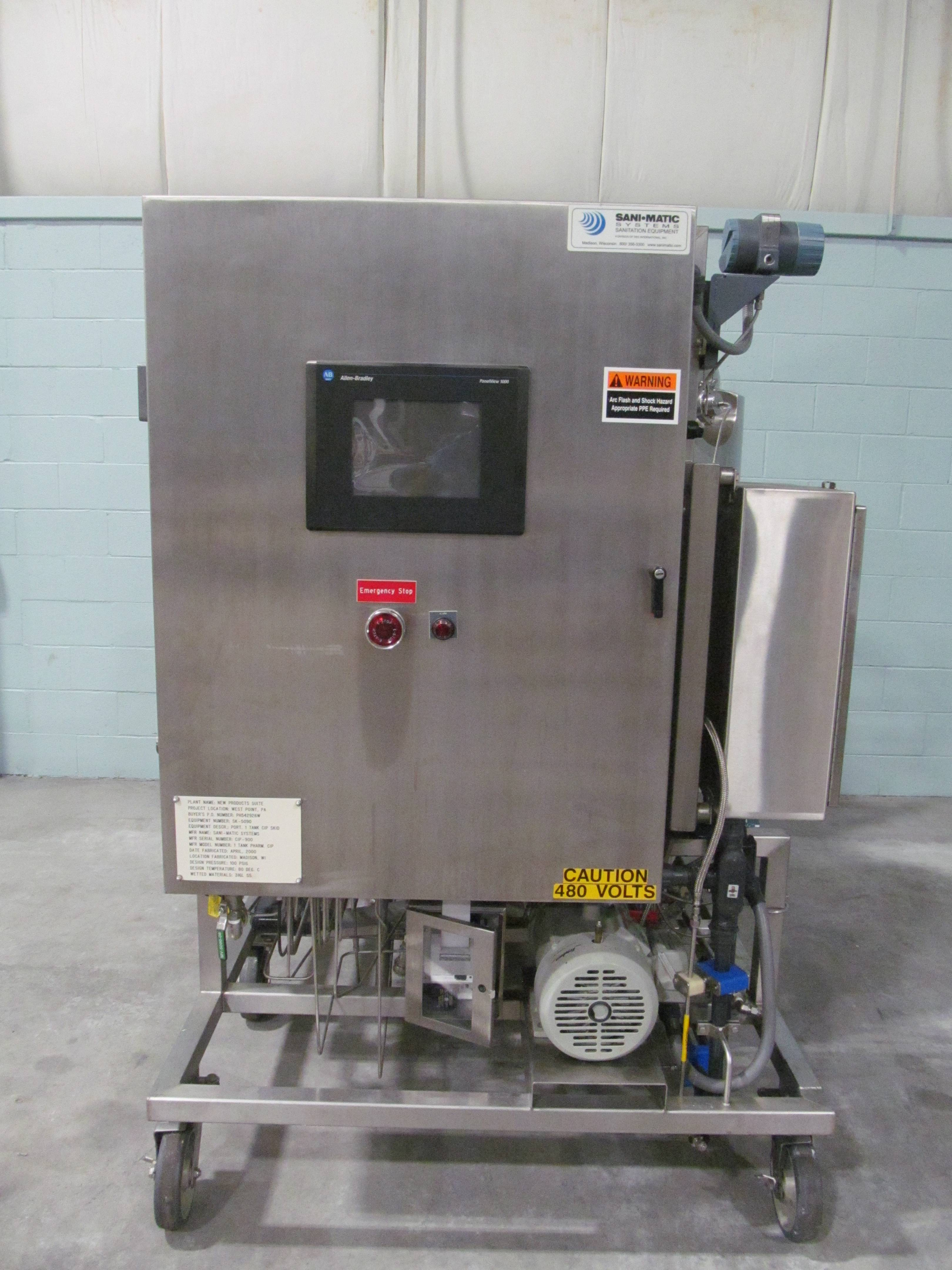 Sani Matic PH542926W Portable Stainless Steel Single Jacketed Tank CIP Skid