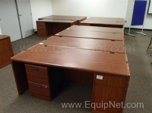 One lot of office desks and file cabinets
