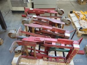One Lot of Four Skarnes Rol-A-Lift 3000 pound Rigging Jacks - Dollies