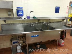 Stainless Steel Dual Sink Wash Station With Stainless Steel Shelf