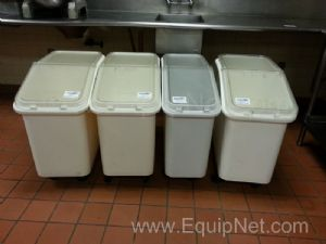 Lot of (4) Plastic Wheel Mounted Totes