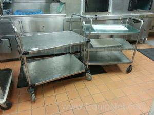 Lot of (2) Assorted Size Stainless Steel Carts