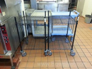 Lot of (2) Wheel Mounted Wire Carts
