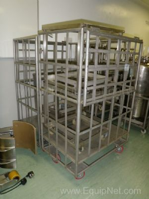Lot of 3 Stainless Steel Mobile Cages