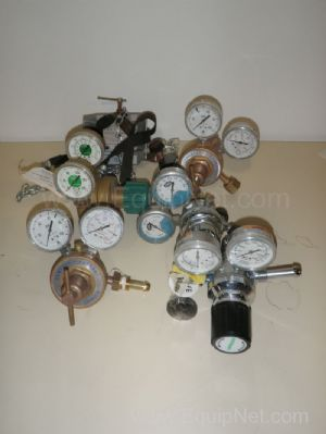 Lot of 5 Compressed Gas Regulators and 1 Cylinder Clamp