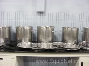 Lot of 5 Stainless Steel Stock Pots with Lids, Gaskets, & Clamps