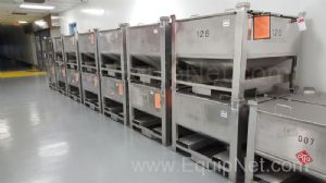 Lot of 7 Pallet Mounted Stainless Steel Processing Totes