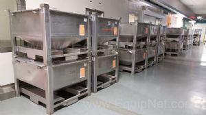Lot of 10 Pallet Mounted Stainless Steel Processing Totes