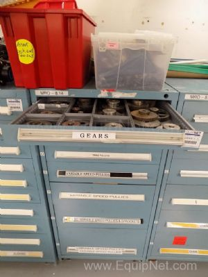 Parts Cabinet with Assorted Sized Gears Pulleys and Sprockets