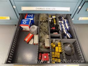 Parts Cabinet with Assorted Sized Seals and Ball Bearings