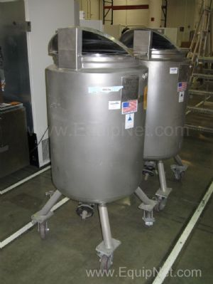 Lot of (2) Precision Stainless 240 Liter Stainless Steel Jacketed Mixing Vessels