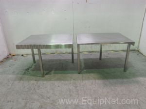 Lot of 2 Three Legged Stainless Steel Tables