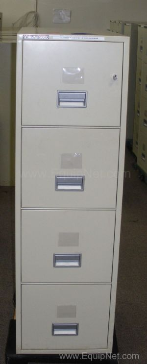 Lot of 2 Schwab SentrySafe 4 Drawer Vertical Legal Fire-Proof Filing Cabinets