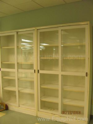 Lot of 12 Dual Glass Sliding Door Storage Cabinets