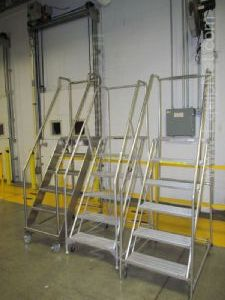 Lot of 3 Rolling 6 Step Safety Ladders
