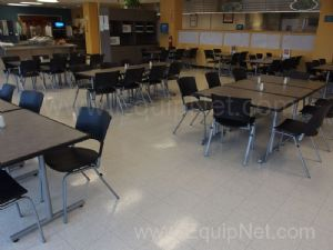Lot Of Cafeteria Furniture Approx 18 Tables, 73 Chairs, and 4 Cabinets