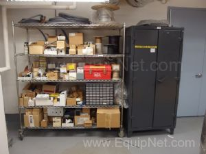 Lot of Electrical Parts On Metro Cart and Strong Hold Cabinet