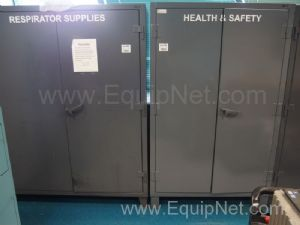 2 Grey Storage Cabinets With Assorted Respirator and Safety Equipment