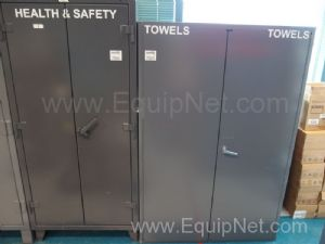2 Grey Storage Cabinets With Assorted Safety Equipment