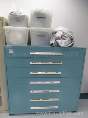 Standley Vidmar 7 Drawer Lateral Cabinet with Contents Clean Room Equipment Transfer Sleeves