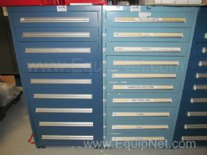 Lot of 2 Stanley Vidmar Storage Cabinets with Contents Thermal Units and Fuses