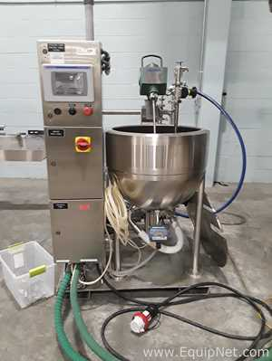 Solution Mix Skid With Lee 90LD Stainless Steel Jacketed kettle And Waukesha 006U1 Sanitary Pump