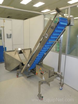 Crown Conveyors Mobile Flighted Belt Elevator and Feed Hopper unit