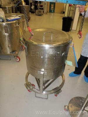 1 Lot of 3 off Stainless Steel 180 Litre mobile holding tanks with loose lid in detachable frames