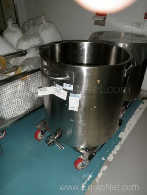 1 Lot of 2 off Stainless Steel 370 Litre mobile open top holding tanks