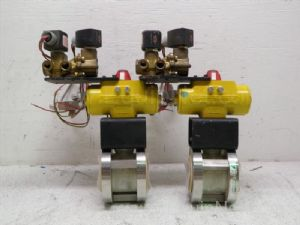 Lot of 2 Hytork-45 Pneumatic Actuators equipped with one and one-quarter inch Ball Valves