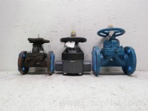 Lot of 3 various manufacturers  one and one-half inch to two inch hand operated Diaphragm valves