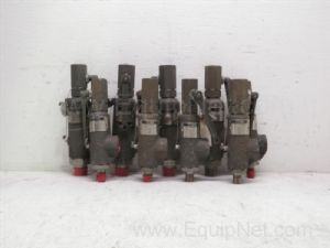 Lot of 9 Dresser .5 inch to 1 inch inlet by 1 inch to 1.5 inch outlet pressure relief valves