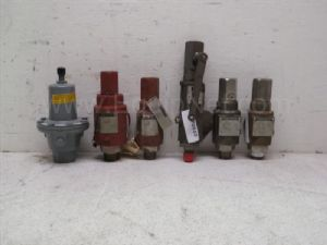 Lot of 6 various manufacturers .5 inch to 1 inch inlet by 1 inch to 1.5 inch outlet relief valves