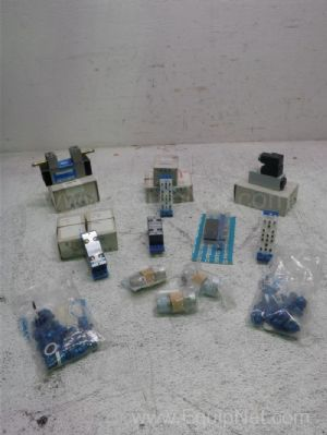 Lot of 14 Festo Pneumatic Valve Components