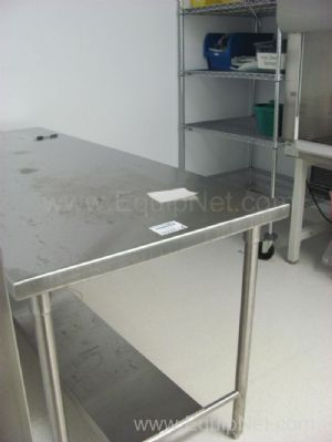 Lot of (2) 5' Stainless Steel Tables and (3) Assorted Size and Style Metro Racks