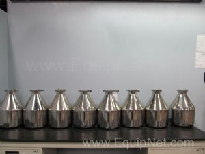 Lot of 8 Stainless Steel Powder Filling Cans