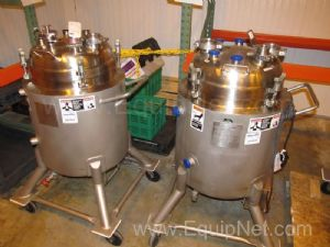 2 Walker Stainless 75L Jacketed Tanks