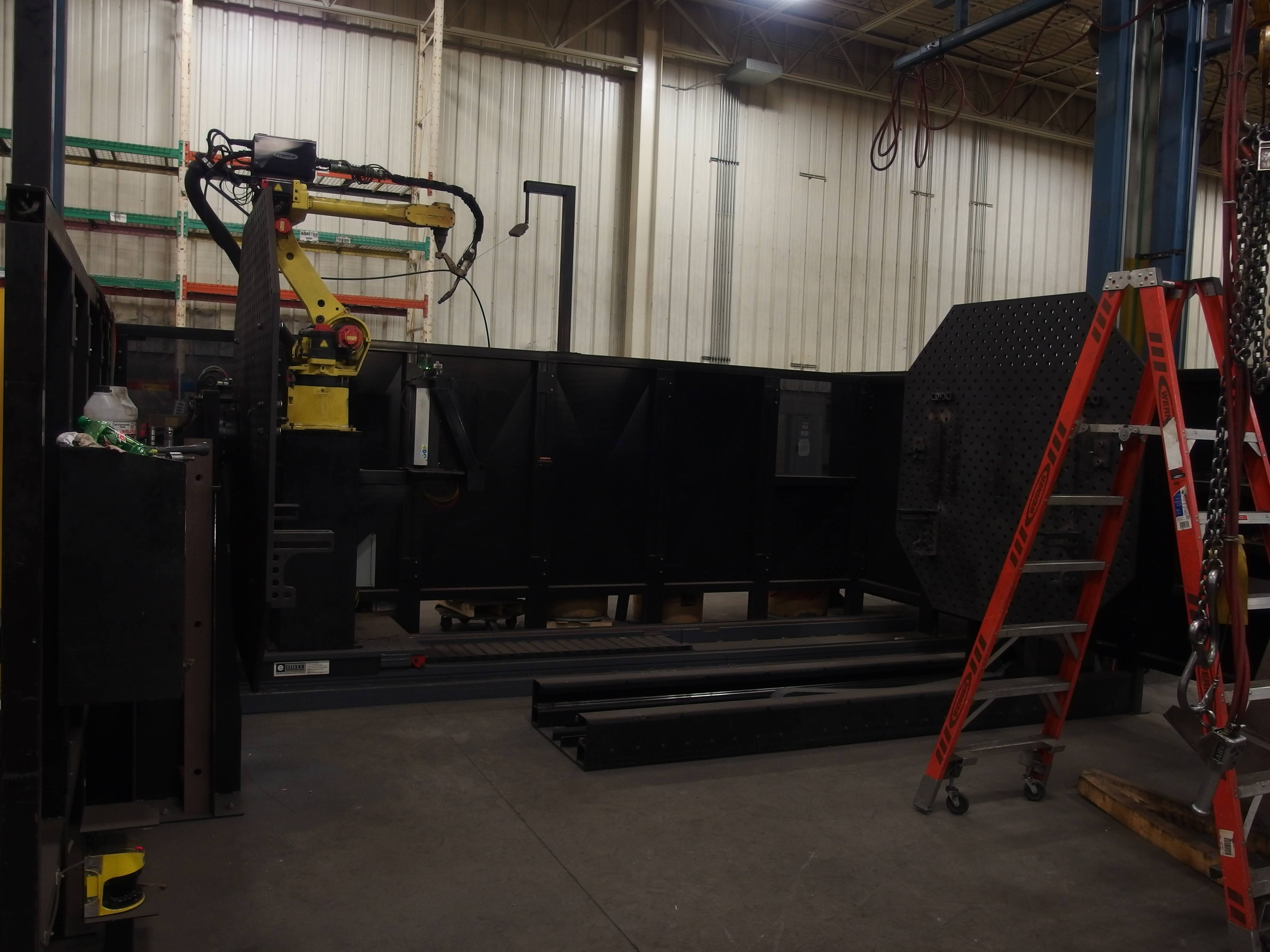 Fanuc ArcMate 120iB-10L Robotic Welding Station with Fronius TPS 5000 MIG Welder and Enclosure