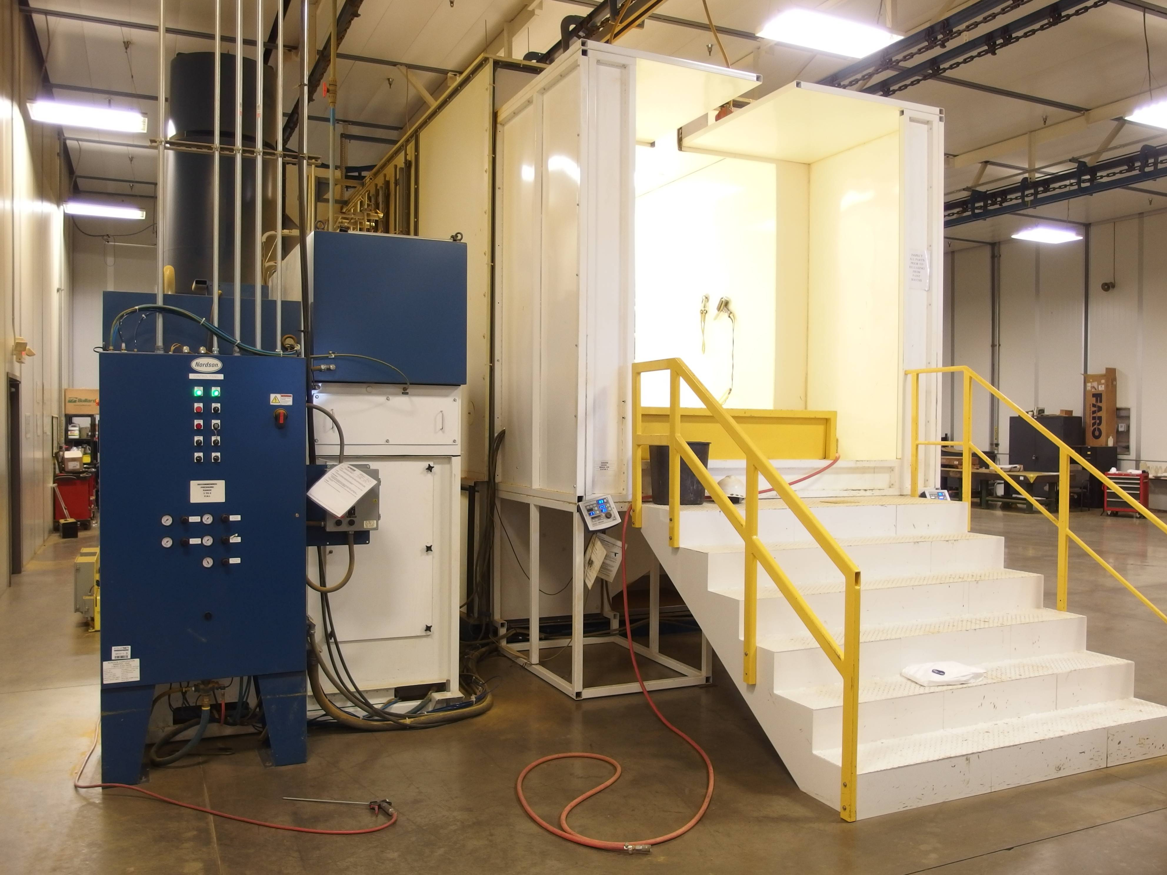 Nordson Automatic Electrostatic Powder Spray Booth with Spectrum II Powder Feed Center