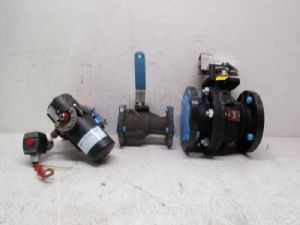 Lot of 3 various manufacturers, one-half  to 3-inch Ball Valves with Spring action actuator