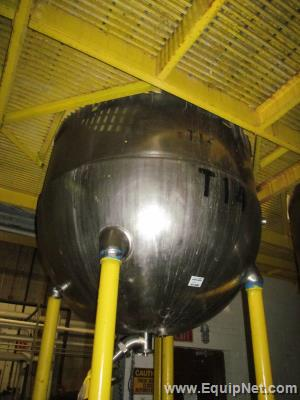 500 Gallon Jacketed Stainless Steel Groen Tank With Side Sweep Agitation and Ross High Shear Mixer