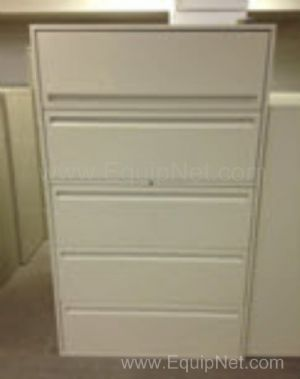 Lot of 2 Haworth 5 Drawer File Storage Cabinets Model LF-536-L