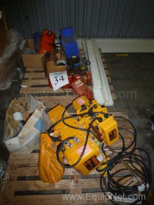 Lot Of Four Hoists Including Two Ton Harrington And Half Ton Dayton Hoists
